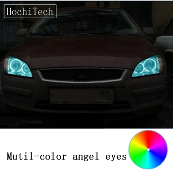 HochiTech Ford Focus II Mk2 2004-2008 için araba styling RGB LED Iblis Angel Eyes Kit Halo Halka Gün bir uzaktan kumanda ile Işık DRL