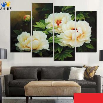 Fashion No wooden frame gift art canvas painting white and pink flowers home decoration wall pictures for living room H107/108